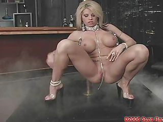 Brooke Haven on her naked body gives a teasing pole dance