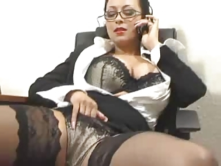 Amazing Big Tits Glasses Lingerie Masturbating MILF Office Secretary Stockings