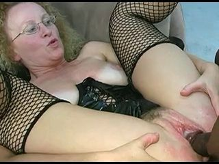 Creampie Cumshot Fishnet Glasses Interracial Mature Stockings