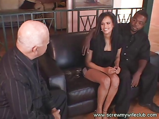 Busty Black Wife Held Hubby While Screwed