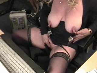 Weird sex of pervert granny on web cam