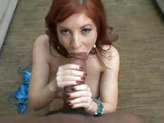 Big Black Cock Stretching Mouth Of Great Redhead