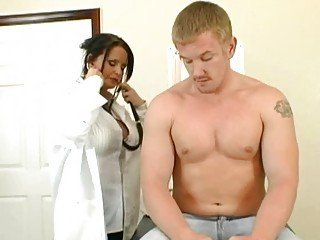 Big breasted brunette doctor screws a horny young patien t