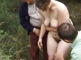 Big Tits Chubby Hairy Mature Outdoor Threesome