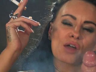 vulgar dark haired bombshell smoking sexy