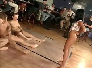 Mad sucking and fucking gangbang ends with massive bukkake on bitch...