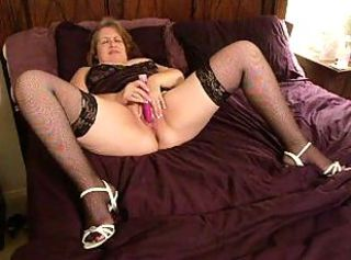 Deb Masturbating and Fucking in Stockings and White Sandals