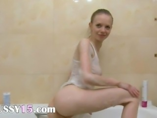 serbian super skinny girl in the shower