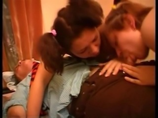 Amateur Blowjob French Hairy Old and Young Pigtail Teen Threesome