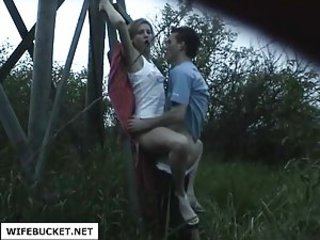 young couple fucking outdoors - Amateur sex video -
