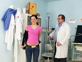 Sandra visits gyno doctor for pussy speculum examination at kinky clinic