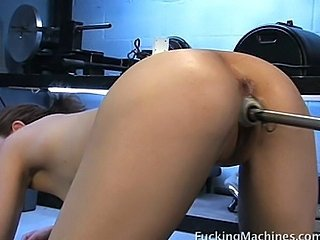 Fucking machine makes hottie happy