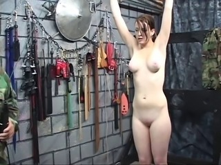 Hot brunette with plump juicy tits gets her nipples twisted by a horny old man