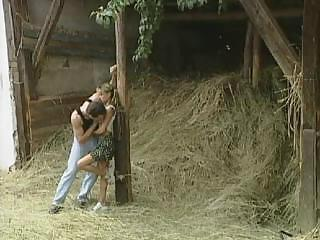 Farm German Kissing Outdoor Pigtail Teen