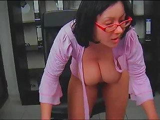 Big Tits Brunette Glasses MILF Pornstar