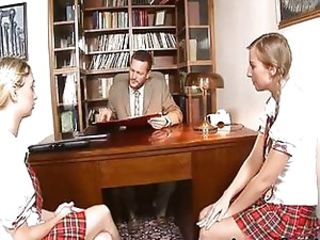 Blonde Cute Pigtail Skirt Student Teen Threesome