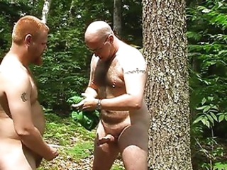 Gay sucking cock in the forest