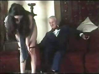 Classic porn with young brunette blowing and banging old guy