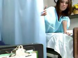 Hot brunette goes to the doctor and blows him and he bangs her
