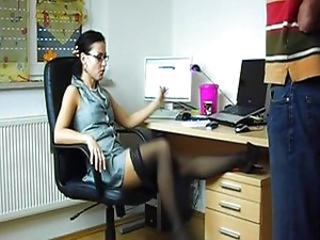 Brunette Glasses MILF Office Pornstar Stockings