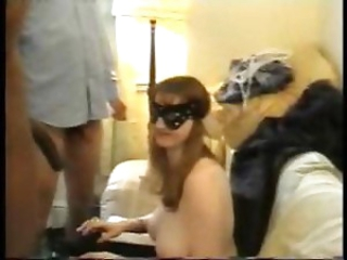 Amateur brunette in mask has three hard interracial cocks to please