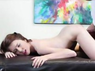 Young brunette visits the casting couch and sucks cock and gets nailed