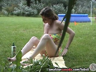 Huge boobed brunette in bikini masturbating voyeur hidden camera