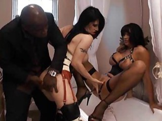 Amazing Bathroom British European Fetish Interracial MILF Stockings Threesome