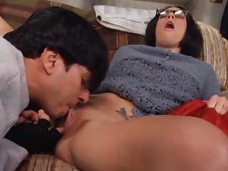 Clothed Glasses Licking MILF Orgasm Pussy