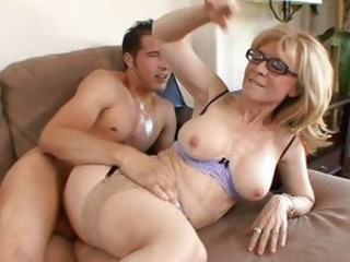 Glasses Hardcore MILF Stockings