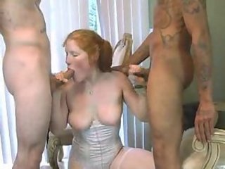 Blowjob Cuckold Interracial MILF Redhead SaggyTits Threesome Wife