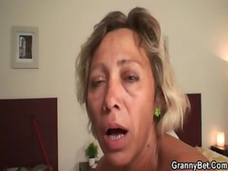 Cleaning lady fucked by young hunk