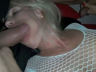 Big cock Blonde Blowjob Fishnet MILF