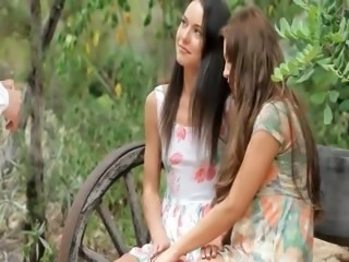 Cute Long hair Outdoor Teen Threesome