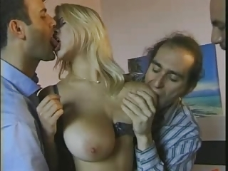 Big tits blond fuck with three men