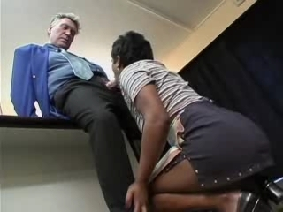 Blowjob Clothed Ebony Interracial MILF Office