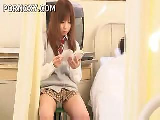 Japanese schoolgirl flashes panties and blows some guy's cock