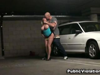 Busty blond fucked in a car park