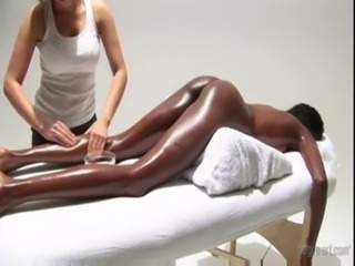 Ebony Interracial Lesbian Massage Oiled Teen