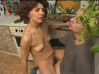 Kitchen Mature Old and Young Riding SaggyTits
