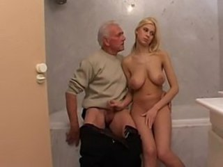 Bathroom Big Tits Blonde Daddy Daughter Handjob Natural Old and Young SaggyTits Small cock Teen