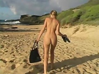 Carli,beautiful blonde girl playing on the beach!!