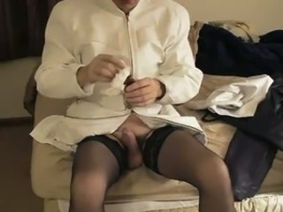 Transvestite Sex Gams In A Leather Dress