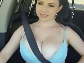 Amazing Big Tits Car MILF
