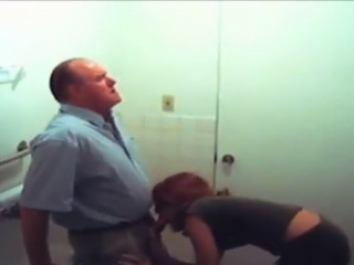 Amateur Clothed Old and Young Student Teacher Toilet
