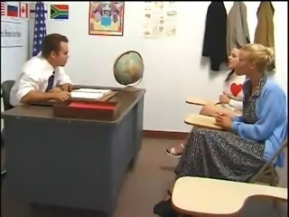 Schoolgirl fucked by teacher. Mom fingered and watches