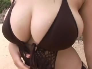 Asian Big Tits Bikini Japanese MILF Outdoor