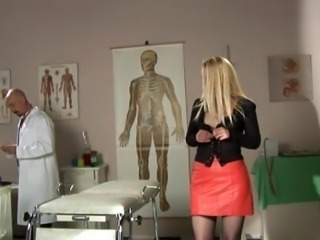 Amazing Blonde Doctor MILF Skirt Stripper