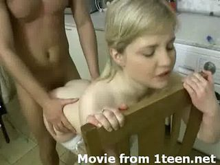 Amateur Blonde Doggystyle Hardcore Kitchen Teen