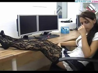 Amazing Anal Brunette Cute Office Stockings Teen